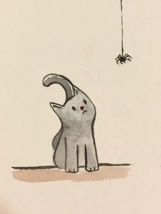 I managed one, tiny little watercolor kitten.
